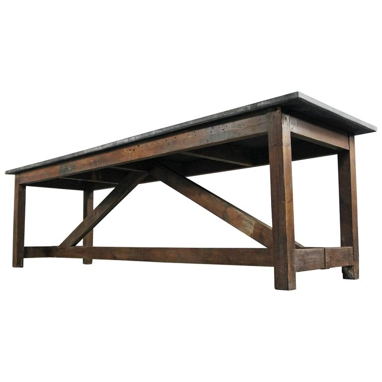 Zinc Top Pine Kitchen Dining Table Island Workbench For