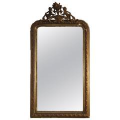 19th Century French Louis Philippe Gilt Gesso Overmantle Mirror Putti Cherub