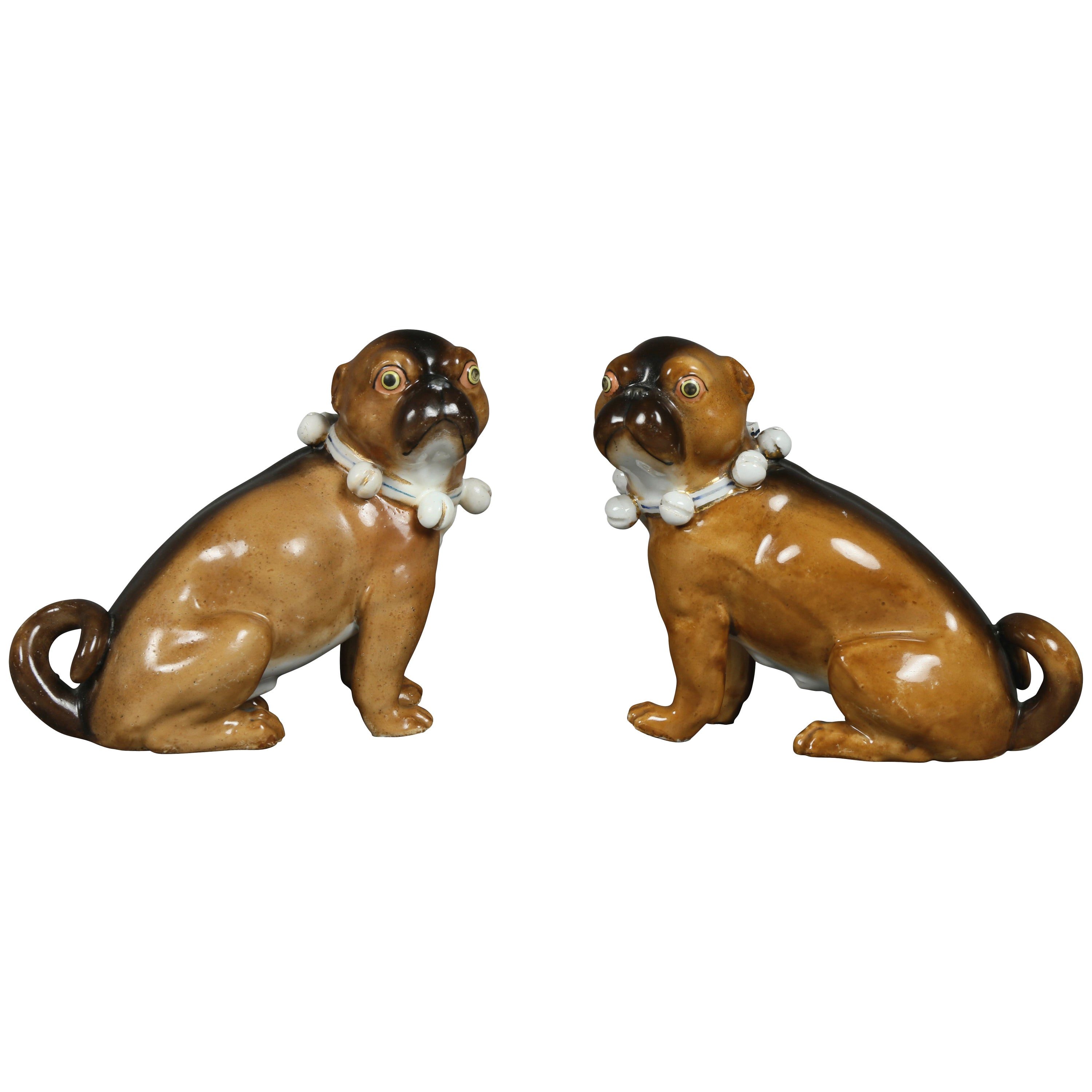 Pair of German Porcelain Figures of Seated Pugs