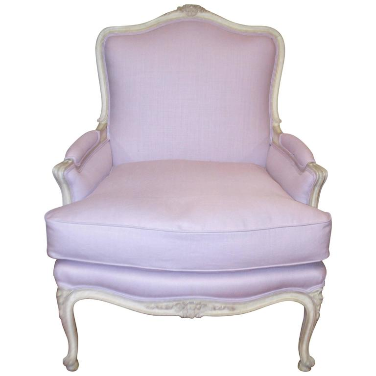 Louis XV Style Painted Bergere Chair Upholstered In A Lavender Linen For  Sale