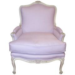 Louis XV Style Painted Bergere Chair Upholstered in a Lavender Linen