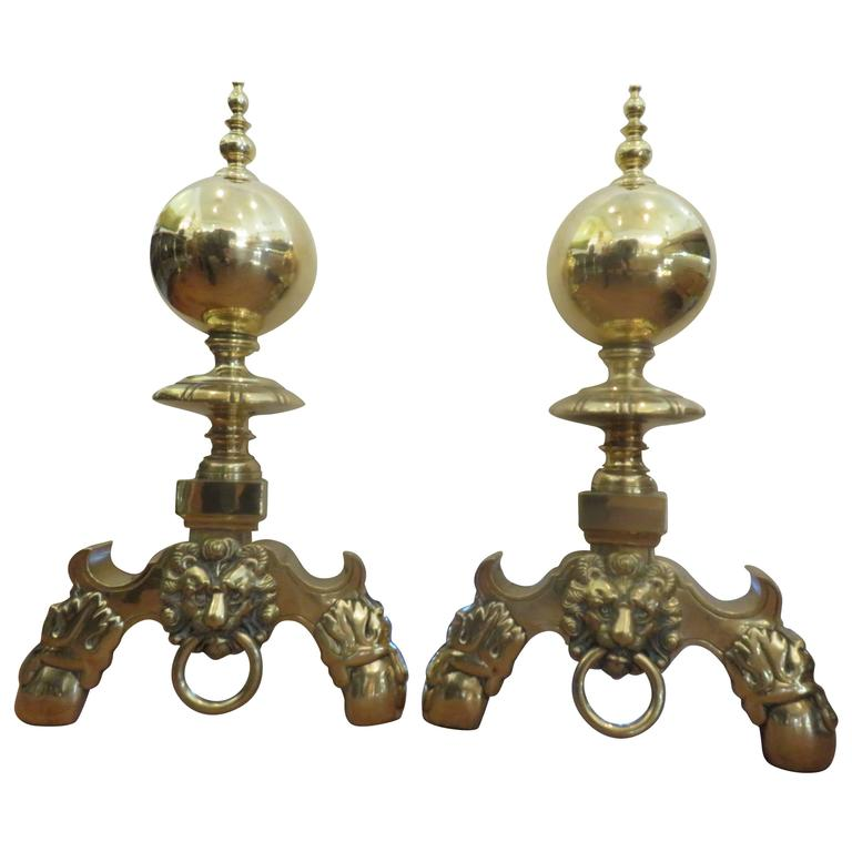 Pair of Monumental Late 19th Century English Solid Brass Lion Pull Andirons