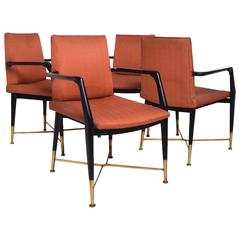 Mexican Modernist Dining Arm Chairs Attributed to Arturo Pani