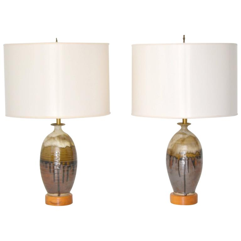 Pair of Mid-Century Jar Form Ceramic Table Lamps