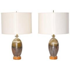 Pair of Midcentury Jar Form Ceramic Table Lamps