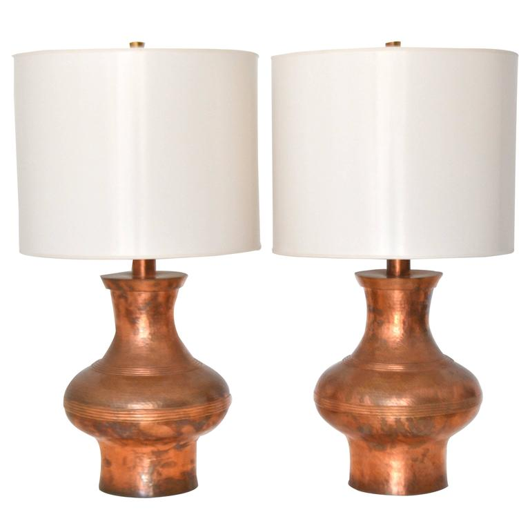 Pair Of Mid Century Hammered Copper Table Lamps