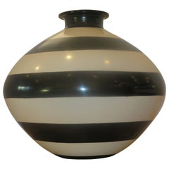 Large Studio Crafted Black and White Vase/Vessel, 1970s