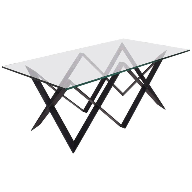 "Custom ""X"" Base Iron and Glass Coffee Table For Sale"