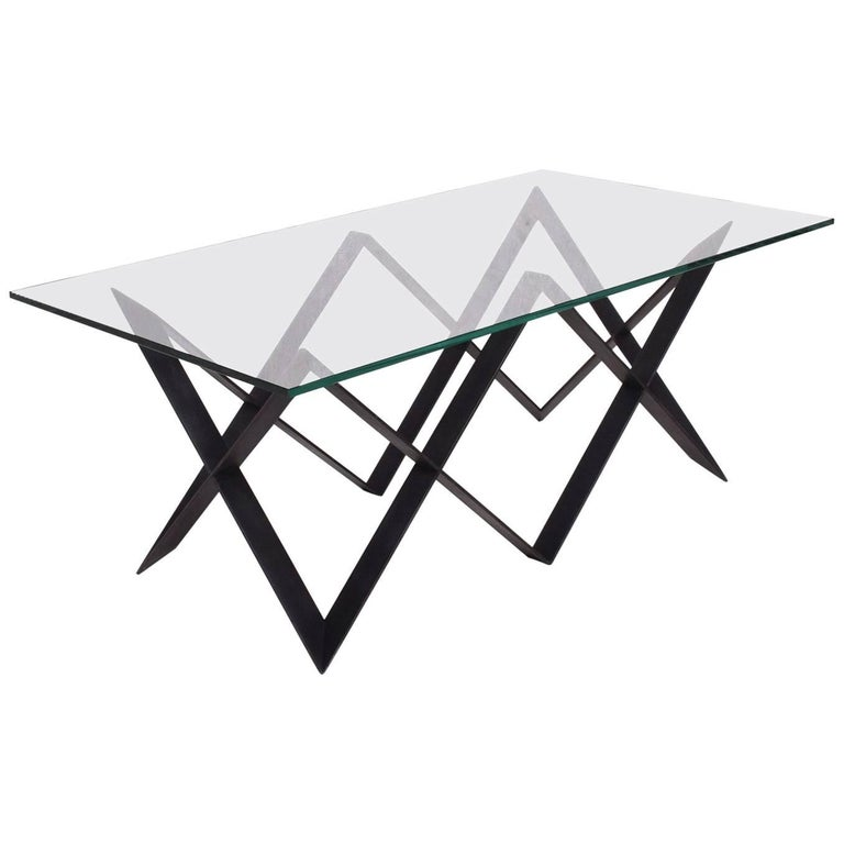 """Custom """"X"""" Base Iron and Glass Coffee Table For Sale"""