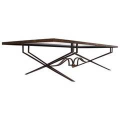 Rectangular Coffee Table in Brass Attributed to Arturo Pani