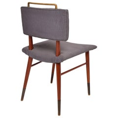 Mid-Century Modern Mahogany and Brass Dining Chairs Attributed to Arturo Pani