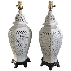 Pair of Pierced Chine de Blanc Table Lamps Asian Hollywood Regency Ginger Jar