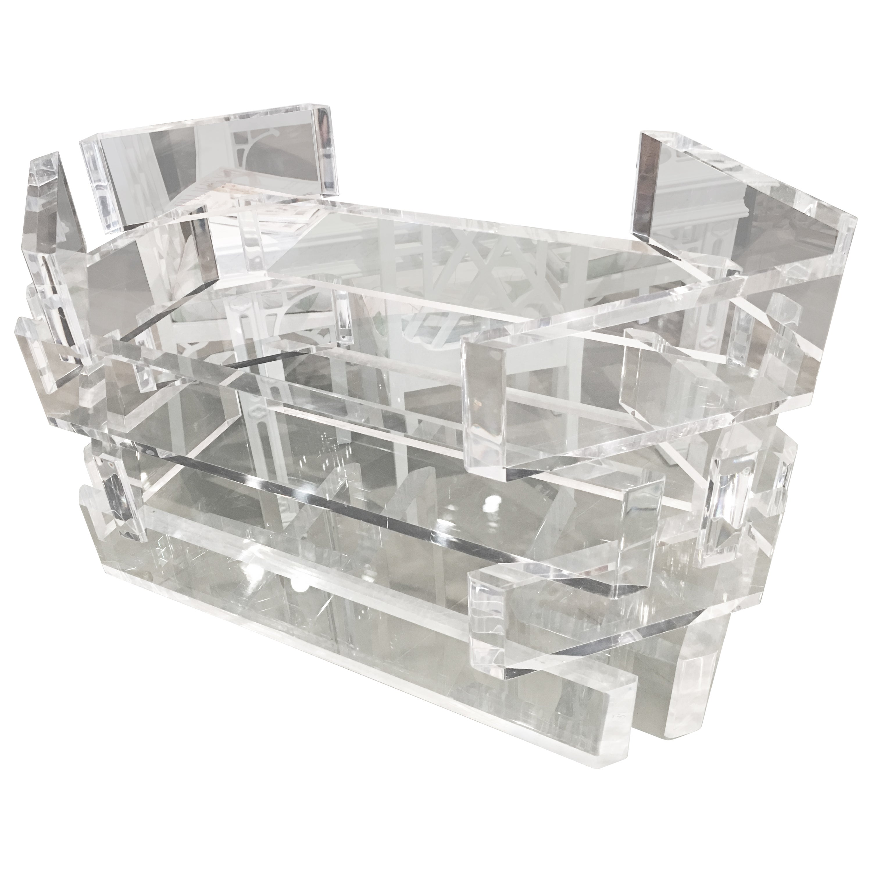 Lucite Stacked Brick Coffee Cocktail Table Hollywood Regency Vintage