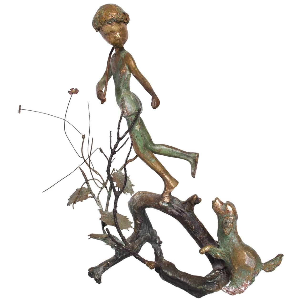 """Antique Bronze Sculpture """"Boy & Dog"""""""