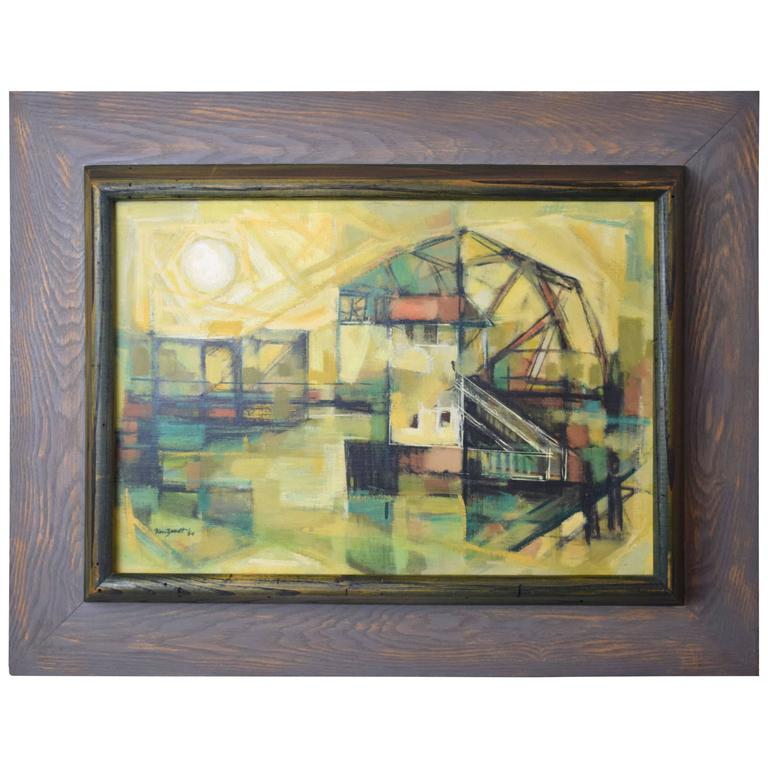 Edward Van Zandt Beverly Abstract Oil in Original Cerused Wood Frame For Sale