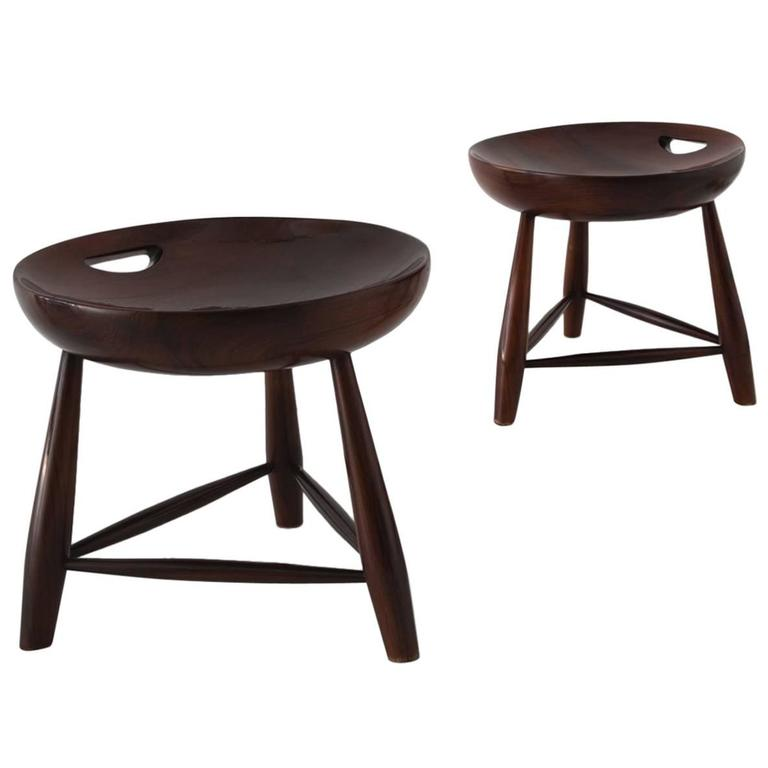 "Sergio Rodrigues Pair of ""Mocho"" Stools, Manufactured by Oca, Brazil, 1954"