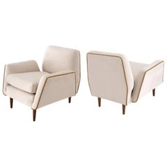 Martin Eisler & Carlos Hauner Pair of Modern Brazilian Armchairs wood and velvet