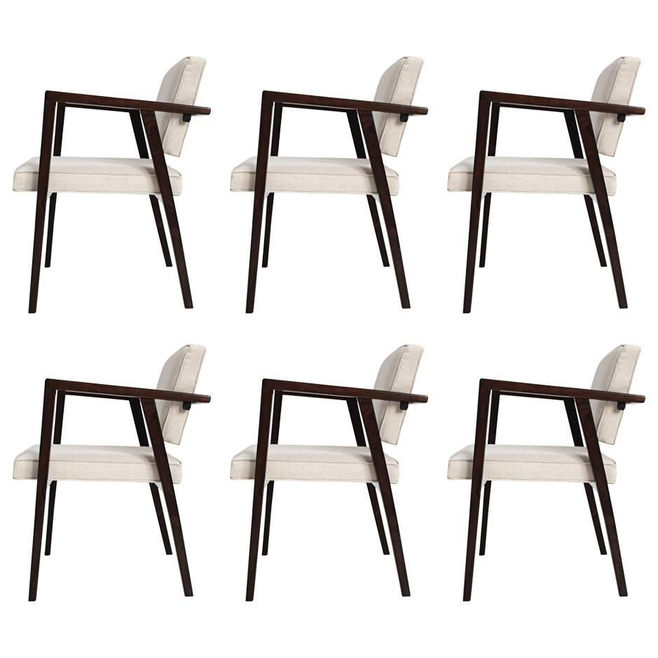 Franco Albini Set of Six Midcentury Brazilian Dining Chairs jacaranda and fabric