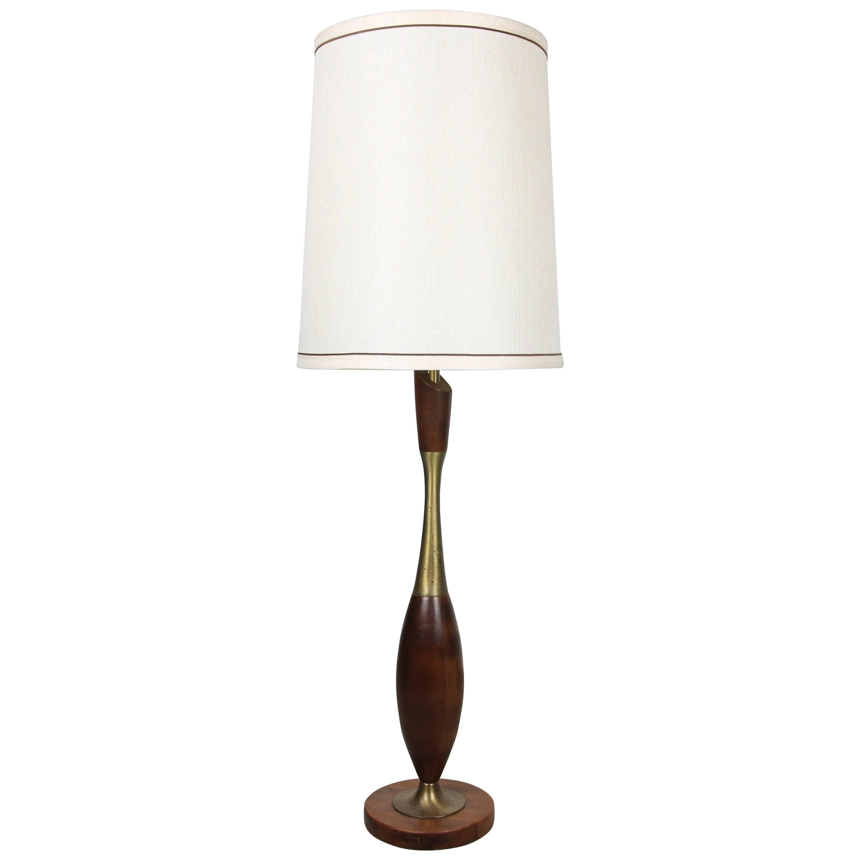 Tony Paul Brass and Walnut Table Lamp