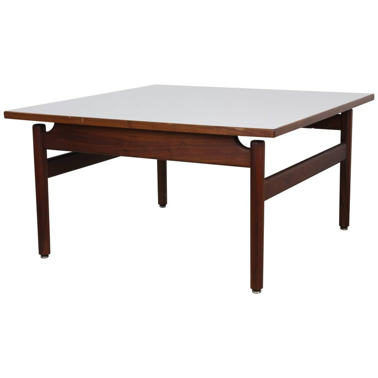 Jens Risom Walnut and Laminate Coffee Table For Sale