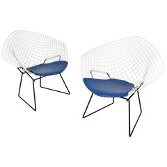 Pair of Early Harry Bertoia Two-Tone Diamond Chairs for Knoll