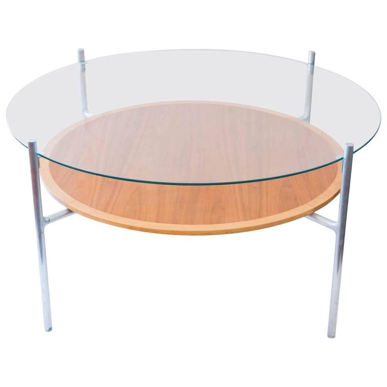 Modern round cast aluminium glass topped coffee table for for Round glass coffee tables for sale