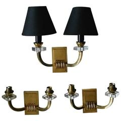 Three Double French Neoclassical  Bronze Sconces by Jacques Adnet