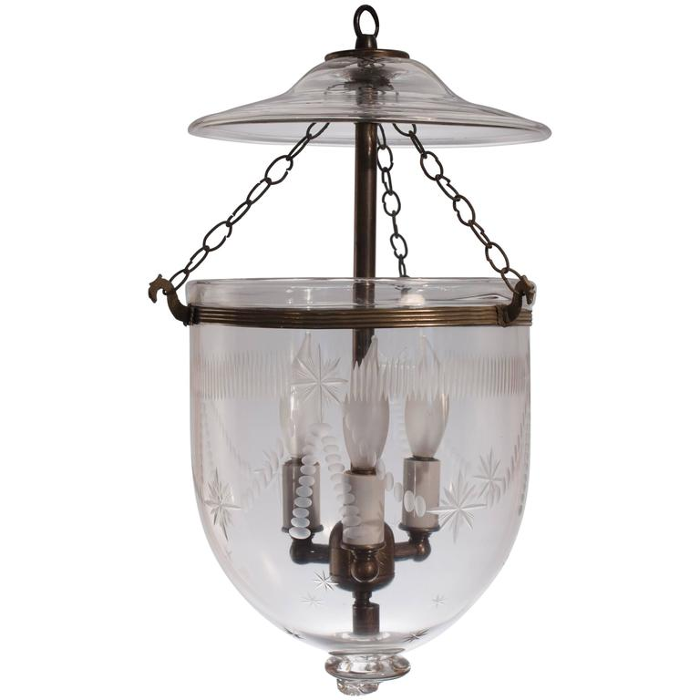 Petite Bell Jar Lantern with Swag Etching