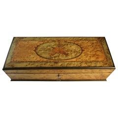 English Birds Eye Maple Inlaid Box with Musical Instrument Theme