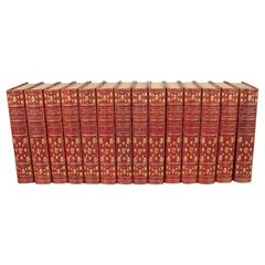 Lovely Grolier Society Red Leather-Bound Set Beaux and Belles of England