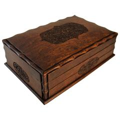 Edwardian Hand-Carved Puzzle Box with Trick Opening