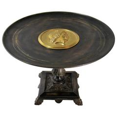 19th Century Neoclassical Bronze and Ebonized Tazza with Gold Gilt Medallion
