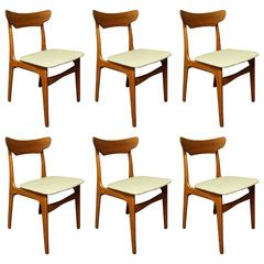 Six Schionning and Elgaard for Randers Danish Teak Dining Chairs