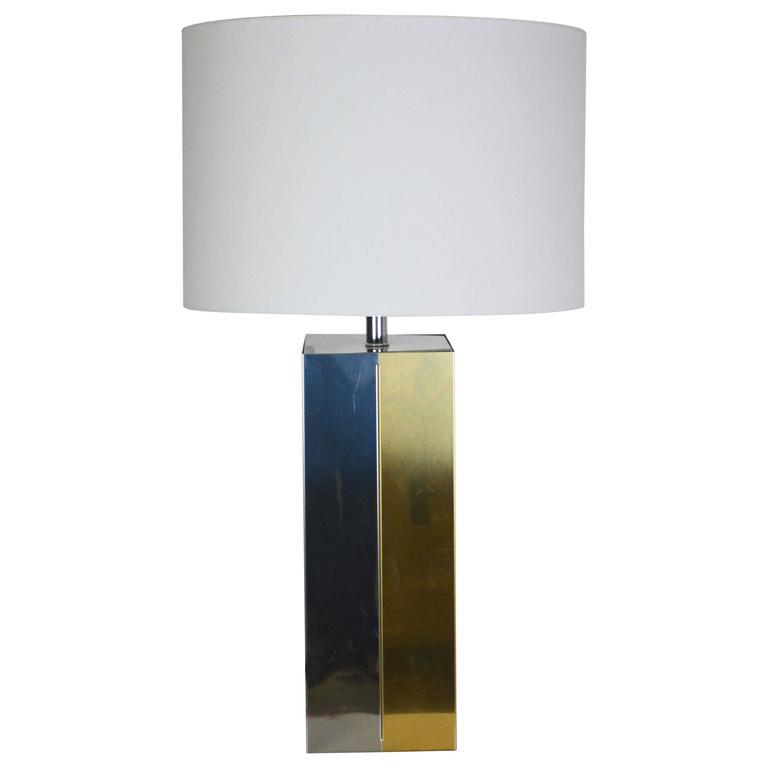 Mid-Century Modern Chrome and Brass Lamp