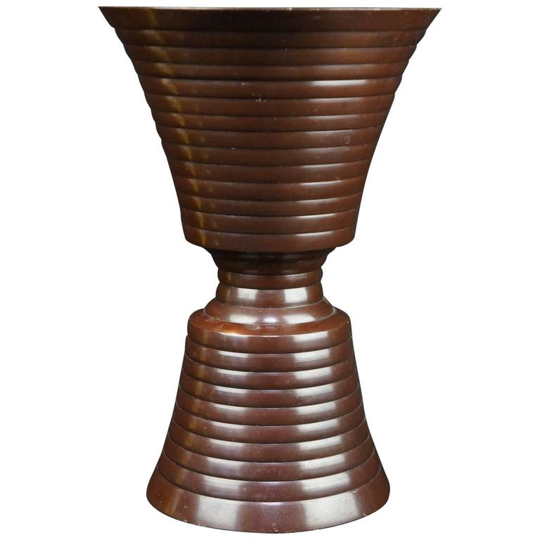 Japanese Hand Cast Bronze Minimalist Vase, Mid-Century Modern