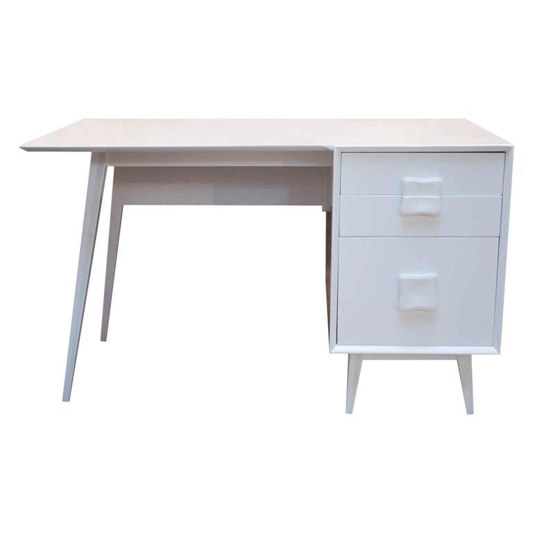 Mid-Century Modern Lacquered Single Pedestal Desk