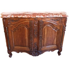 "Exceptional Louis XV Pd Carved Walnut and Marble Top ""Buffet de Chasse"""