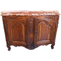 Exceptional Louis XV Pd Carved Walnut And Marble Top Buffet De Chasse