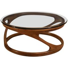 American Studio Craft Sculptural Walnut and Glass Coffee Table