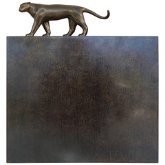 1981 Bronze Panther Sculpture by Roberto Esteves