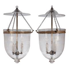Pair of 19th Century Etched and Frosted Bell Jar Lanterns