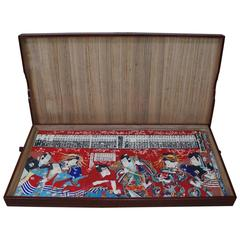 Important Japan Complete Antique Kabuki Woodblock 42 Prints 1870 Lacquer Box