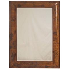 Walnut and Burl Walnut Cushion Framed Mirror