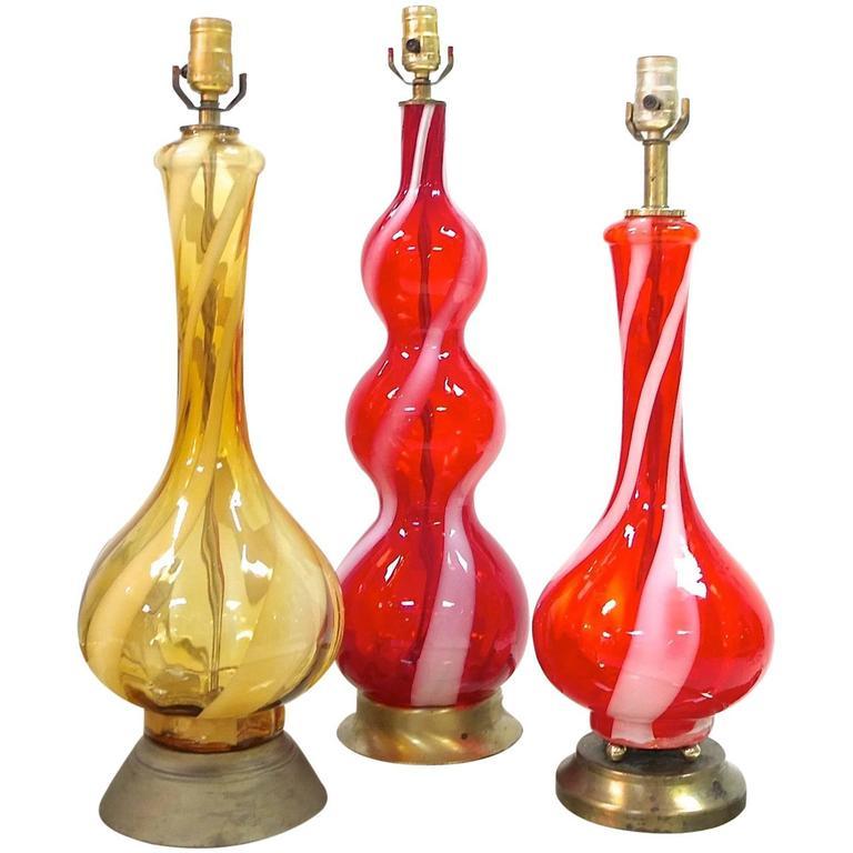 1960s Swirled Murano Glass Table Lamps