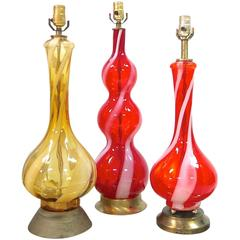1960s Swirled Murano Glass Table Lamps