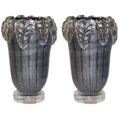 1980s Costantini Italian Pair of Silver Black Crystal Murano Glass Leaf Vases