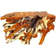 Ancient Teak Root Console Table Organic Modern