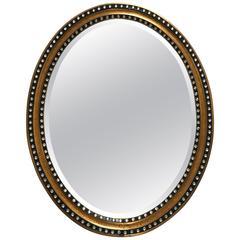 Stunning Large Irish Oval Mirror with Inset Paste Stones