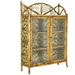 Antique Scottish Victorian Bamboo Two Door Bookcase, Cabinet, Etagere