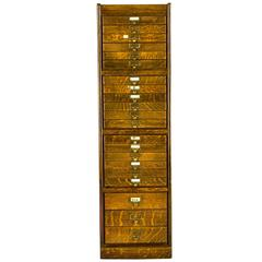 Antique Quarter Sawn Oak Macey Flat File Cabinet, 21 Drawers, 1920s